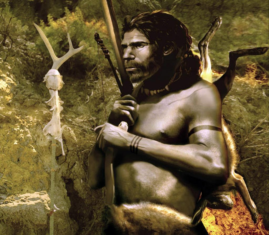 A proud Neanderthal hunter from Neander Valley Poster Print by Jan Sovak/Stocktrek Images