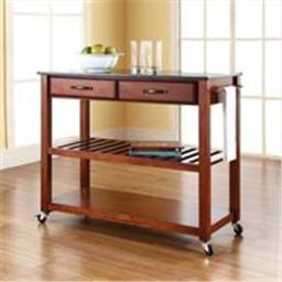Crosley Furniture KF30054CH Solid Black Granite Top Kitchen Cart-Island