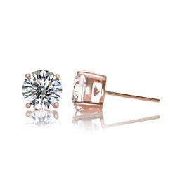 Rozzato Jewelry Rose Plated Cubic Zirconia Classic Stud Earrings