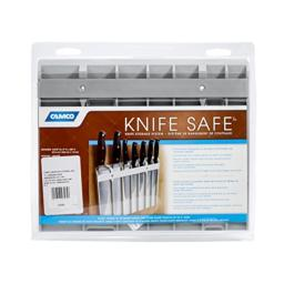 """Camco Knife Safe - Securely Mounts on Wood or Metal Surfaces, Holds 7 Cooking and Carving Knives, Organize and Store Knives While Creating Space - (9"""" x 11"""") Gray (43585)"""