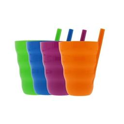 Arrow Sip-A-Cup with Built In Straw For Kids Includes Purple, Blue, Green, Orange (4 Pack)