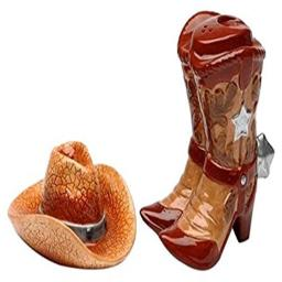 Cg SS-CG-20703, Two Piece Boots with Cowboy Hat Salt and Pepper Shakers