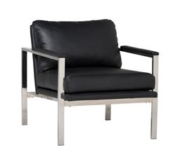Studio Designs Home Studio Designs Home Lintel Modern Leather Arm Chair in Chrome / Black