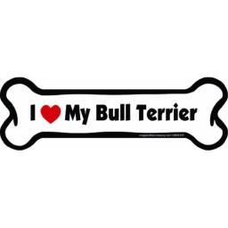 Imagine This Bone Car Magnet, I Love My Bull Terrier, 2-Inch by 7-Inch