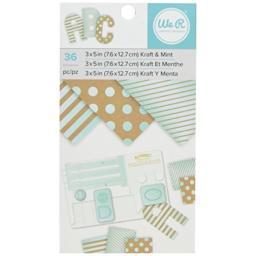 American Crafts We R Memory Keepers Paper Pad Kraft with Mint Foil 36 Sheets, 3 x 5