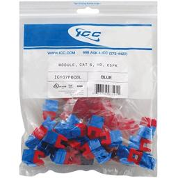 ICC CAT6 RJ45 Keystone Jack for HD Style, Blue, 25-Pack