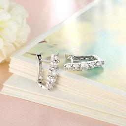 5 Piece Stone Huggie Earring in 18K White Gold Plated with Swarovski