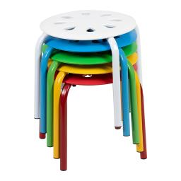 "Offex Plastic Nesting Stack Stools, 11.5""Height, Assorted Colors - 5 Pack"