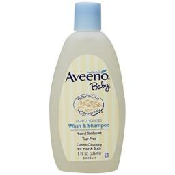 Aveeno Baby Wash & Shampoo, Lightly Scented, 8 Ounce (Pack of 4)