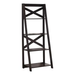 Offex Contemporary Free Standing Ladder Bookcase with 4 Shelves - Espresso