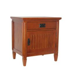 1 Drawer Night Stand with 1 Storage Cabinet and Mission Bale Pulls, Brown