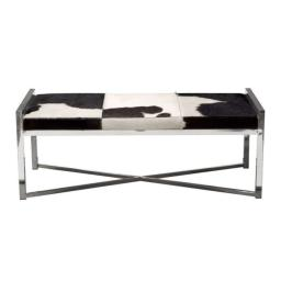 Rectangular Steel Frame Bench with Hair On Hide Fabric Upholstered Seat, Multicolor
