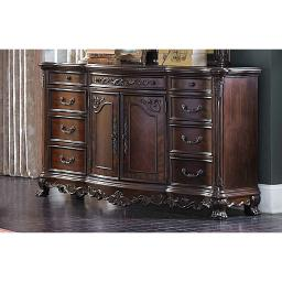 Transitional Style Wooden Chest With 5 Drawers, Brown