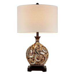 Table Lamp with Engraved Floral Motifs and Mosaic Details, Brown and Gold