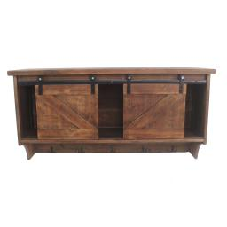 Wooden Wall Storage with 2 Sliding Doors and 5 Metal Hooks, Brown