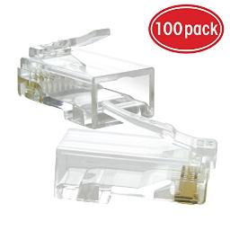 GearIT 100-Pack Cat5e RJ45 Modular Plug for Stranded UTP Cat 5e Network Cable - 50u Gold-Plated Contacts Crimp Connector