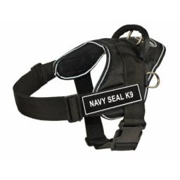 Dean & Tyler Fun Works 20-Inch to 23-Inch Pet Harness, X-Small, Navy Seal K9, Black with Reflective Trim