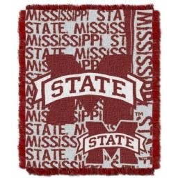 """The Northwest Company Officially Licensed NCAA Mississippi State Bulldogs Double Play Jacquard Throw Blanket, 48"""" x 60"""""""