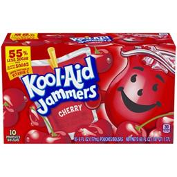 Kool-Aid Jammers Cherry Soft Drink, 10 Pouches
