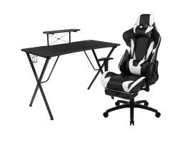 Offex Black Gaming Desk and Black Footrest Reclining Gaming Chair Set with Cup Holder, Headphone Hook, and Monitor/Smartphone Stand