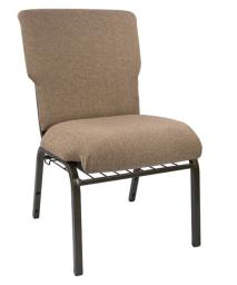 "Offex 21"" Wide Mixed Tan Discount Church Chair with Gold Vein Frame"