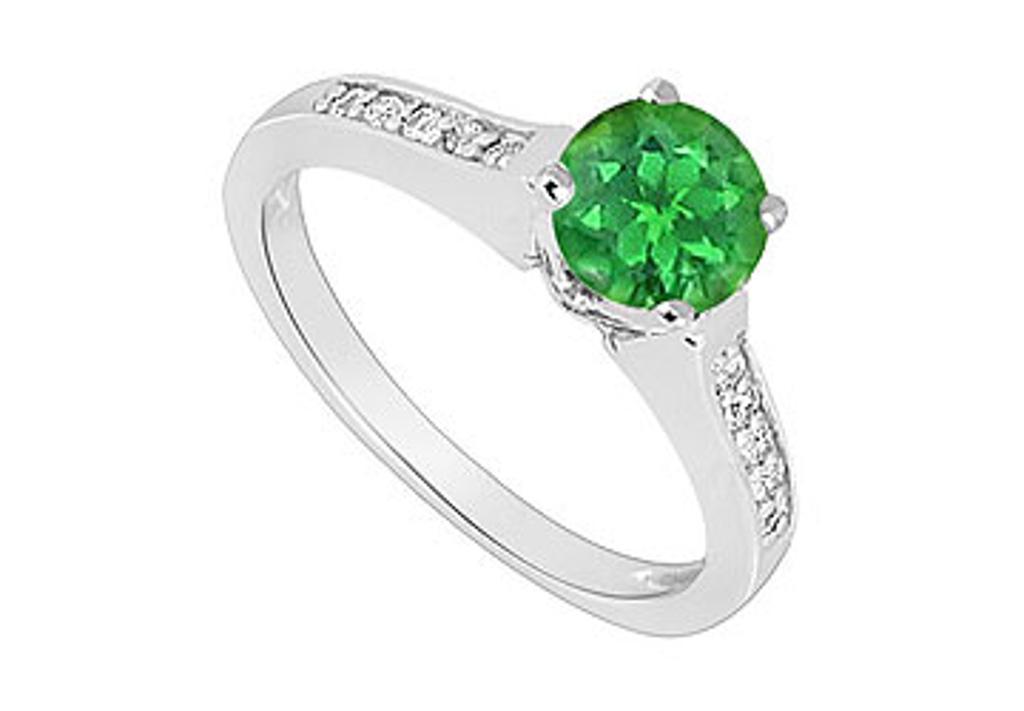 14K White Gold Emerald and Diamond Engagement Ring 0.60 CT TGW