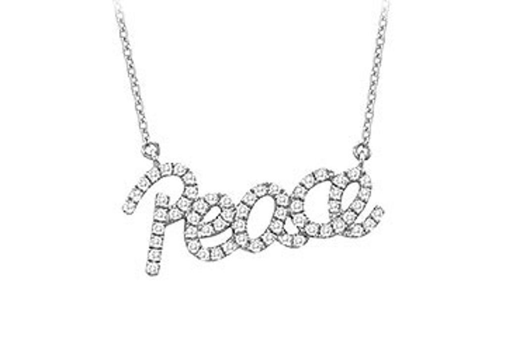 14K White Gold Diamond Peace Pendant Necklace 0.33 CT TDW