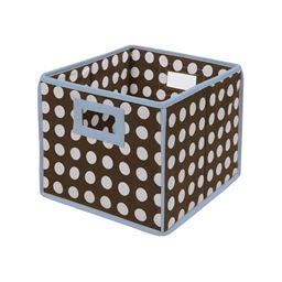 Badger Basket Co Folding Basket/Storage Cube - Blue Trim/Brown Polka Dot