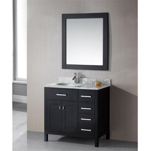 Design Element Group DEC076D-L London 36 in. Single Sink Vanity Set in Espresso Finish with Drawers on the Left