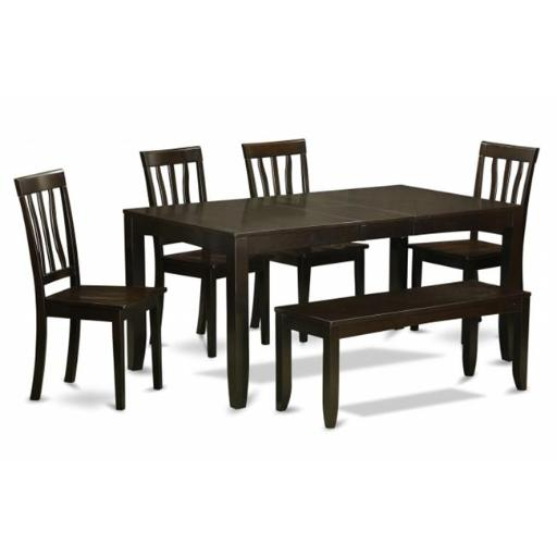 East West Furniture LYAN6-CAP-W 6 Piece Kitchen Table With Bench-Table With Leaf and 4 Dining Room Chairs and Bench