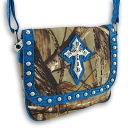 Studded Forest Camo Shoulder Bag with Gothic Cross Croc Trim
