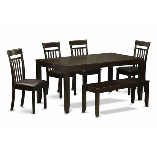 East West Furniture LYCA6-CAP-LC 6 Piece Dining Table Set With Bench-Table With Leaf and 4 Chairs For Dining Room Plus Bench