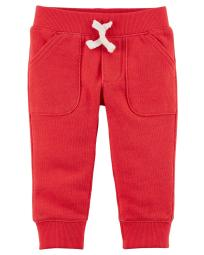 Carter's Baby Boys' Pull-On French Terry Joggers, Red, 6 Months