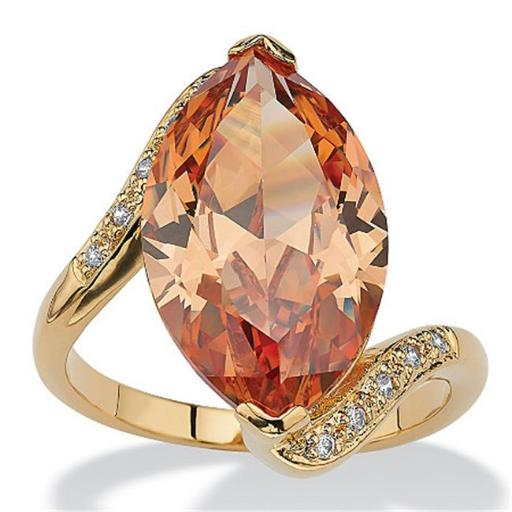 PalmBeach Jewelry 509467 8.04 TCW Marquise-Cut Champagne-Color Cubic Zirconia 18k Gold-Plated Cocktail Ring Size 7
