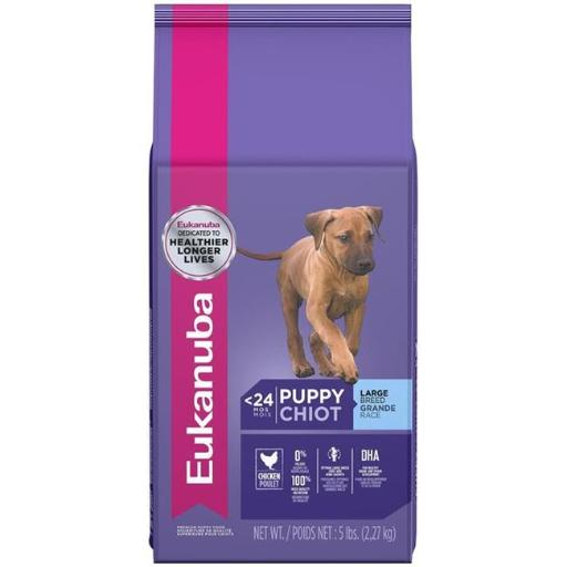 .Eukanuba Large Breed Puppy Food provides 100% complete and balanced nutrition for your fast-growing puppy. Your puppy will love the satisfying taste of real chicken, and you'll like that they are getting the key nutrients they need to enjoy a long, happy life. Our large breed dry puppy food also features optimal levels of DHA, a building block for healthy brain development, which helps promote smarter, more trainable puppies. .Features.5 Count. Specifications. Size:. Large. Weight:. 25.7 lbs.