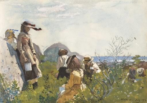 Berry Pickers, By Winslow Homer, 1873, American Painting, Watercolor On Paper. Seven Children With Metal Pails Pick Berries On The Seashore Poster.
