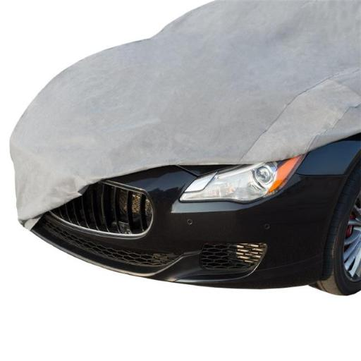Stalwart M600047 14.2 ft. Car Cover Protective Water Repellent Covering with Elastic Hem & Built In Grommets & Storage Bag - Gray
