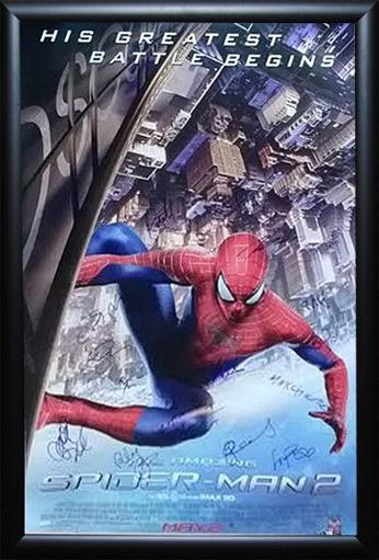 The Amazing Spider-Man 2 Signed Movie Poster Wood Framed with COA OKLFGEFZNMOOB02S