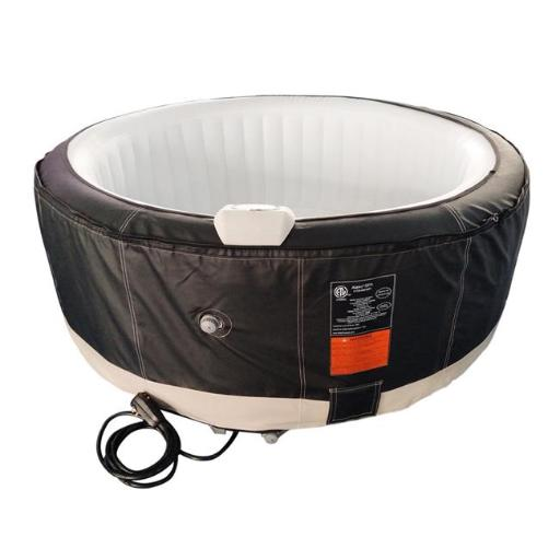 Aleko HTIR4BKWH-UNB 210 gal Round Inflatable Hot Tub Spa with Zip Cover, Black & White - 4 Person