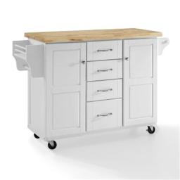 Crosley CF3018WH-NA 35.87 x 51.5 x 18 in. Elliott Kitchen Cart with Natural Top - White