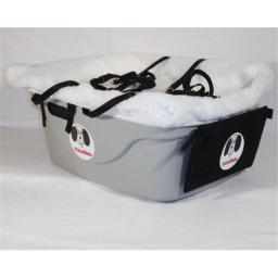 FidoRido Products FRG2W-ML Gray Two-Seater with White Fleece and A Medium Harness and A Large Harness