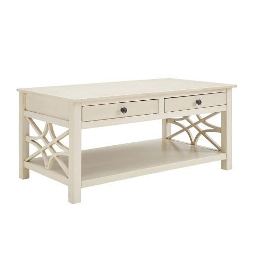 Linon Whitley Antique White Coffee Table