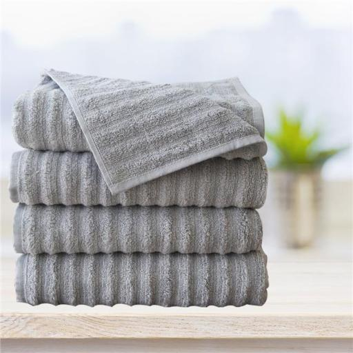 Affinitylinens WAVY4BATH-SVL Spa 4 Piece 100 Percent Zero twist Cotton Bath Towels - Silver