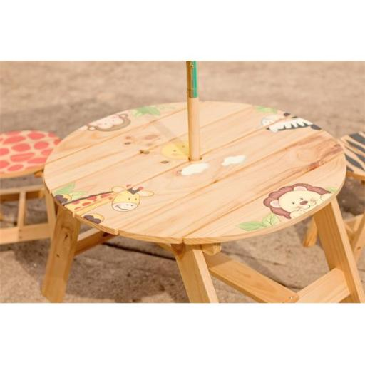 Teamson TD-0030A Outdoor Table and 2 Chairs Set - Sunny Safari- Outdoor Collection