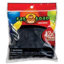 "Fat Toad Balloons Round 12"" 12/pkg-black"