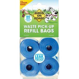 Bags On Board 3203910200 Blue Bags On Board Waste Pick-up Refill Bags 60 Count Blue