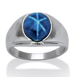 Men's Oval Simulated Blue Star Sapphire Ring in Silvertone Sizes 8-16