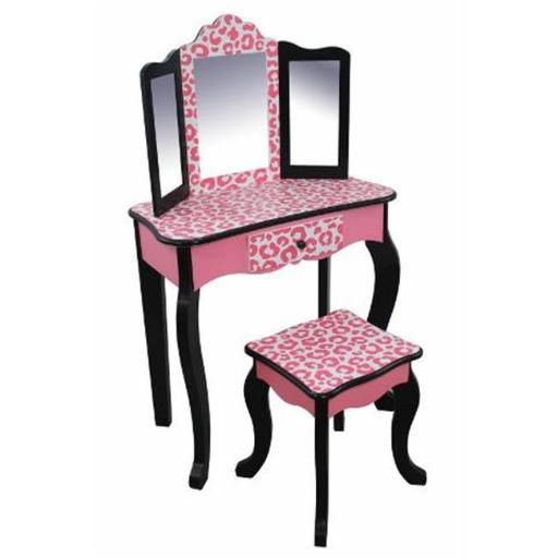 Teamson Kids TD-11670B Vanity Table and Stool Set in White and Pink Zebra