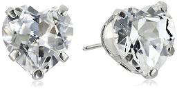 14k White Gold and Created White Sapphire Heart Stud Earrings