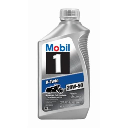 Warren Distribution 230420 Mobil 1 V-Twin Quart 20W50 Synthetic Motorcycle Oil